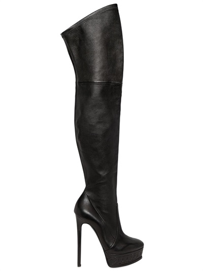 Casadei 140Mm Stretch Suede Over The Knee Boots In Black
