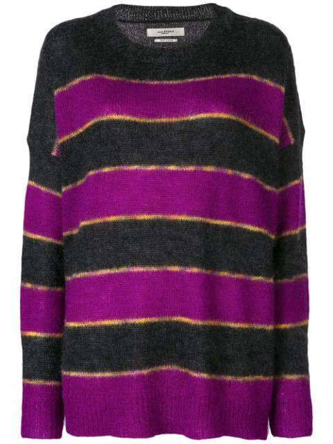 Etoile Isabel Marant Isabel Marant Etoile Reece Sweater In Black,stripes,purple. In Pink & Purple
