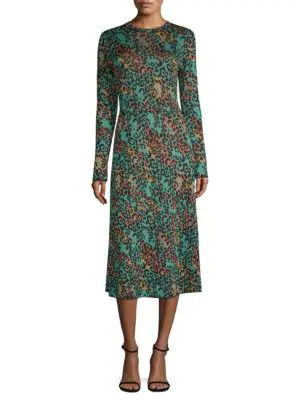 M Missoni Metallic Animal-Print Long-Sleeve Dress In Blue Leopard