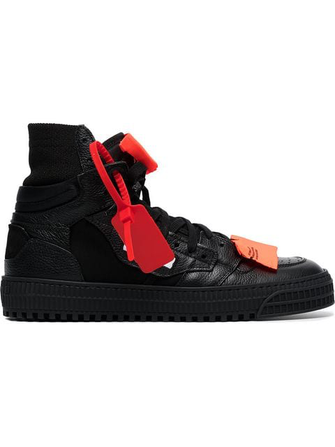 Off-White AppliquÉD Logo-Embellished Textured-Leather And Mesh Sneakers In Black