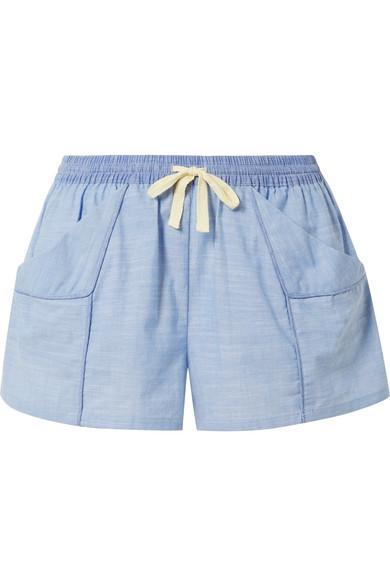 Skin Jude Cotton-chambray Shorts In Light Denim