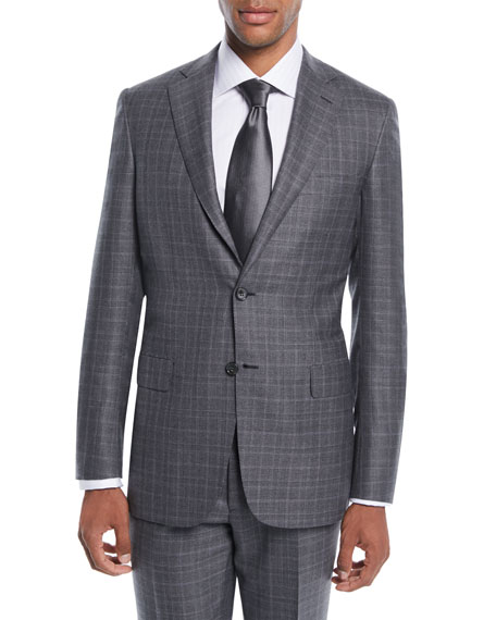 Brioni Men's Plaid Wool-Silk Two-Piece Suit In Gray
