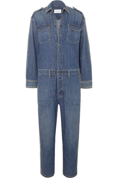 Current Elliott Crew Coverall Straight Leg Denim Jumpsuit In Mid Denim