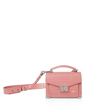867a2e39b2 The Kooples Emily Croc-Embossed Leather Mini Crossbody In Pink ...