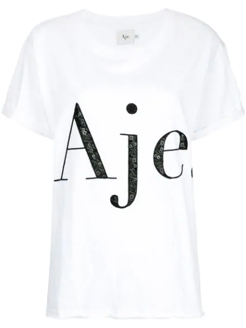 Aje Sequin Embellished Logo T-Shirt - Farfetch In White