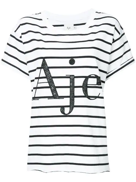 Aje Sequin Embellished Logo Striped T-Shirt - Farfetch In White
