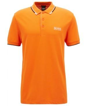 Hugo Boss Boss Men's Regular/Classic-Fit Pique Stretch Polo Shirt In Orange