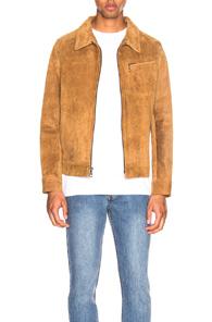 Schott Duke Unlined Rough Suede Jacket In Brown