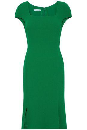 Oscar De La Renta Fluted Wool-Crepe Dress In Green