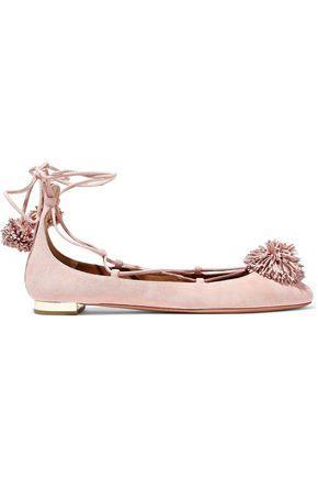 Aquazzura Woman Pompom-Embellished Suede Lace-Up Flats Pastel Pink