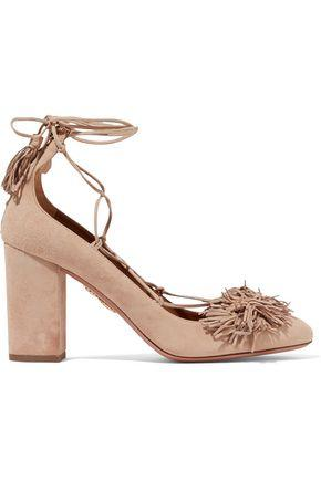 Aquazzura Woman Wild Thing Lace-Up Fringed Suede Pumps Sand