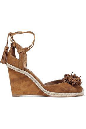 Aquazzura Woman Sunshine Pompom-Embellished Suede Wedge Sandals Brown