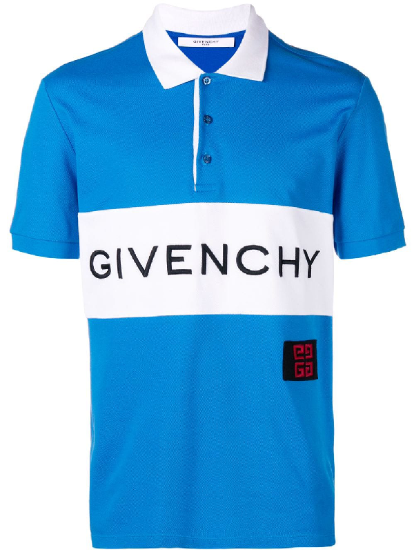 Givenchy Slim-Fit Logo-Embroidered Cotton-PiquÉ Polo Shirt In Blue