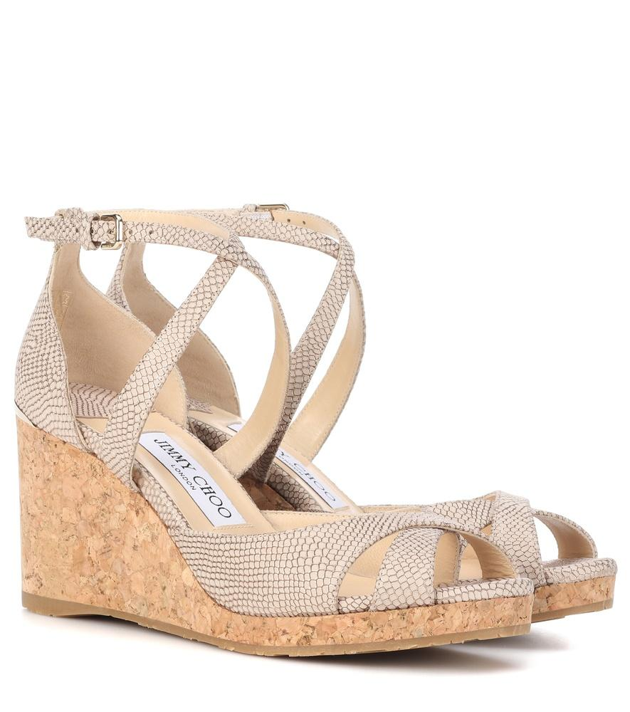 d40be7c330e6 Jimmy Choo Alanah 80 Leather Wedge Sandals In Neutrals