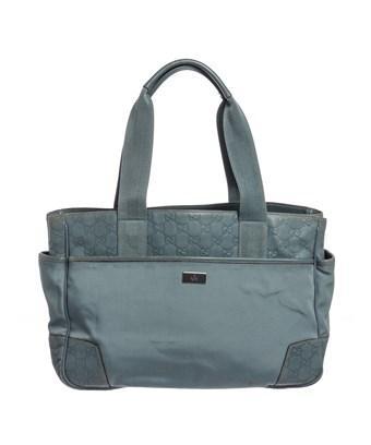 17ba701b01 Gucci Blue Ssima Nylon Leather Tote Bag | ModeSens