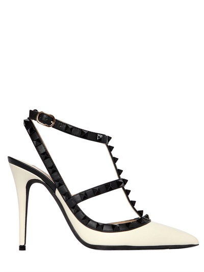 305364ab67 Valentino Rockstud Colorblock Leather Mid-Heel Sandal, Ivory/Black In White /Black