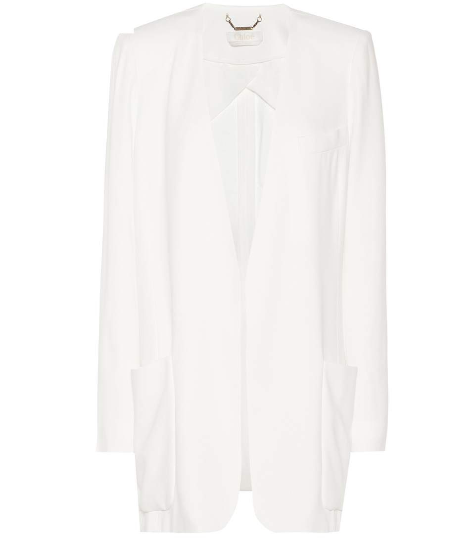 ChloÉ CrÊPe Jacket In White
