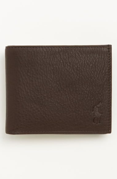 Polo Ralph Lauren Pebbled Leather Billfold Wallet In Brown