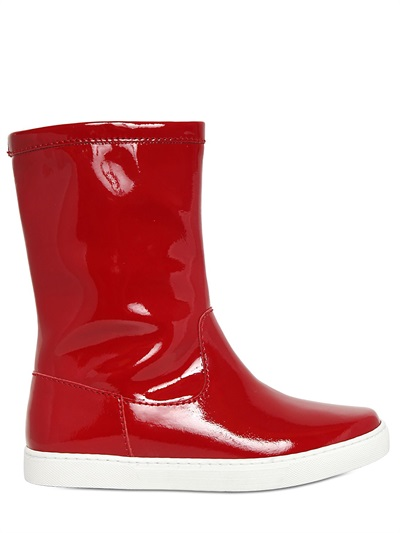 Jil Sander 10Mm Patent Leather Sneaker Boots In White