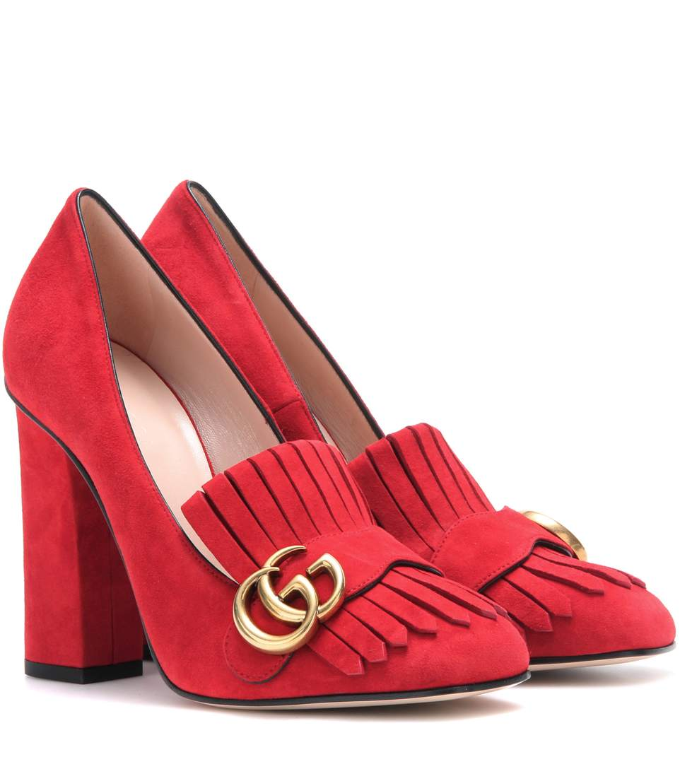 Gucci Suede Loafer Pumps In The