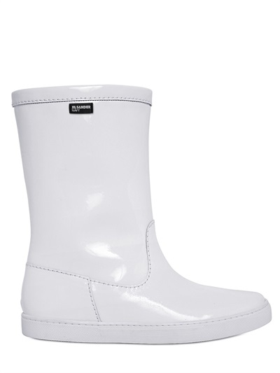 Jil Sander 10Mm Patent Leather Sneaker Boots, White