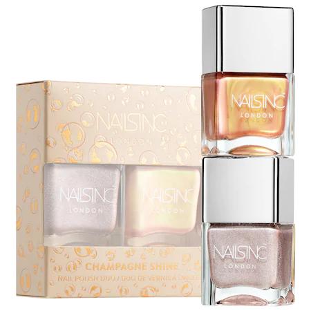 Nails Inc. Champagne Shine Nail Polish Duo 2 X 0.49 oz/ 14 ml