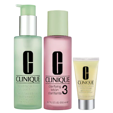 Clinique 3-step Skin Care System For Skin Types 3, 4 Combination Oily To Oily Skins