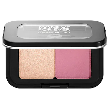 Make Up For Ever Artist Face Color Mini Highlighter & Blush Duo S214 - Rosewood Blush/ H106 - Shimmery Champagne High