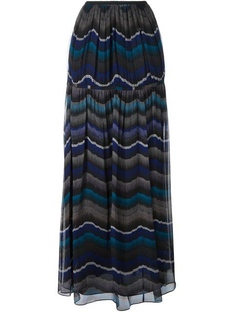 Diane Von Furstenberg Isadorra Printed Silk-chiffon Maxi Skirt In Encore Peacock
