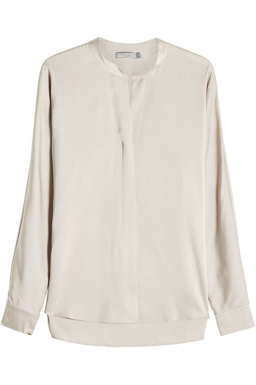 Vince Split Neck Silk Blouse In Taupe