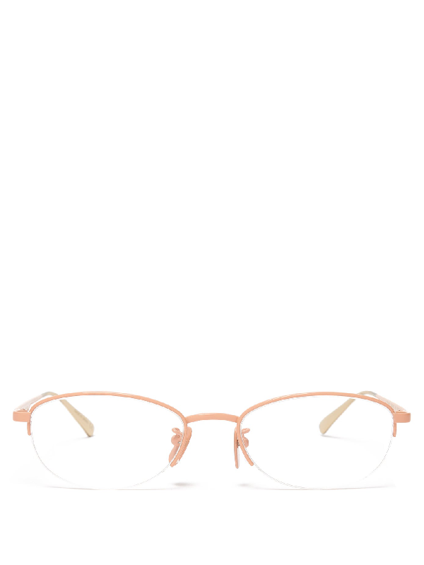 Gucci Oval-frame Glasses In Pink