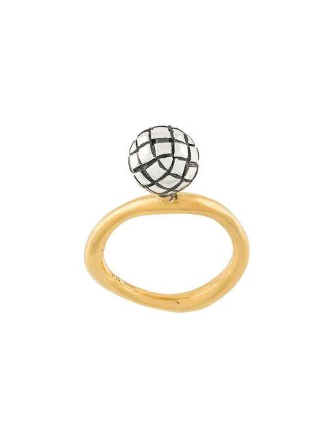 Bottega Veneta Dichotomy Intrecciato Ring In Metallic