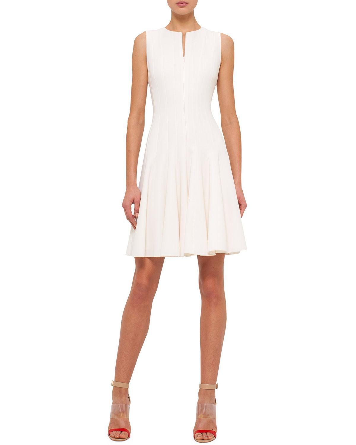 Akris Sleeveless Zip-Front Seamed A-Line Dress In Off White