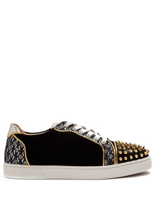 6fd09fb1d4bf Christian Louboutin Viera Spike-Embellished Velvet Trainers In Black Multi