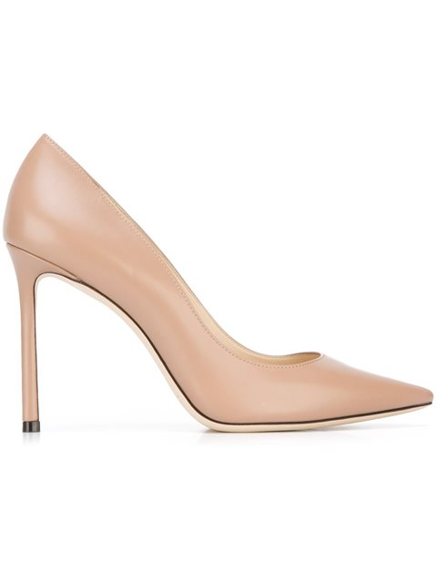 Jimmy Choo Romy 100 Leather Pumps In Neutrals