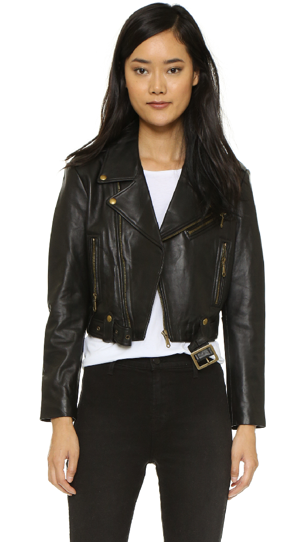 Rebecca Minkoff 'wes' Perforated Panel Leather Moto Jacket In Black