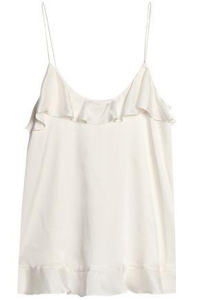 Zimmermann Woman Ruffle-Trimmed Washed-Silk Camisole White