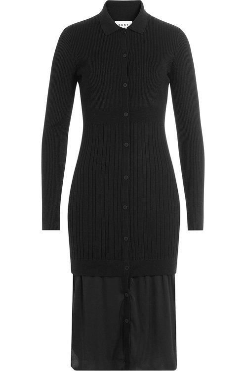 Dkny Layered Dress With Merino Wool In Black