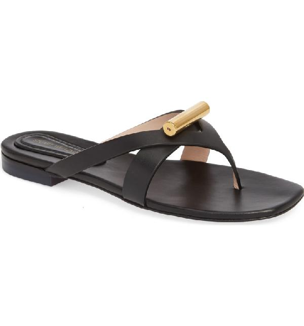 2afc2983893 Stuart Weitzman Women s Arro Leather Thong Sandals In Pitch Black Dexter