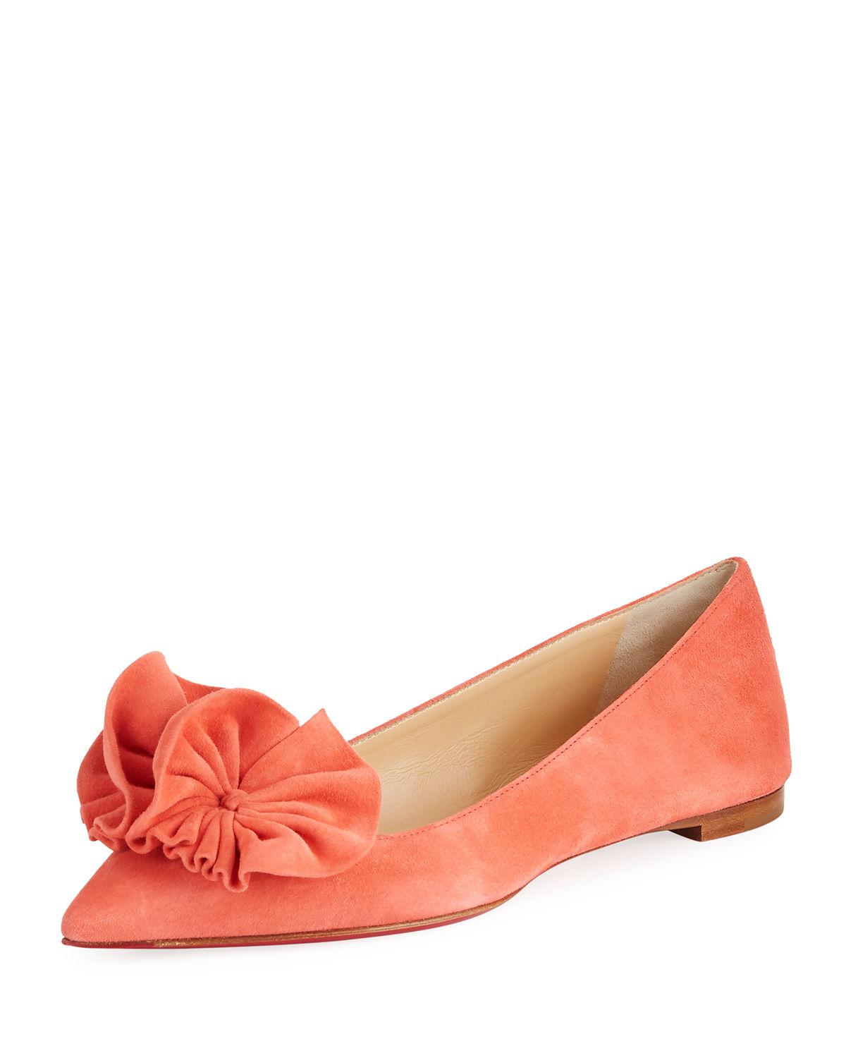 fd69b183497c Christian Louboutin calf suede ballerina flat with ruffled appliqu. Flat  stacked heel. Pointed toe. Slip-on style. Leather lining. Signature red  leather ...