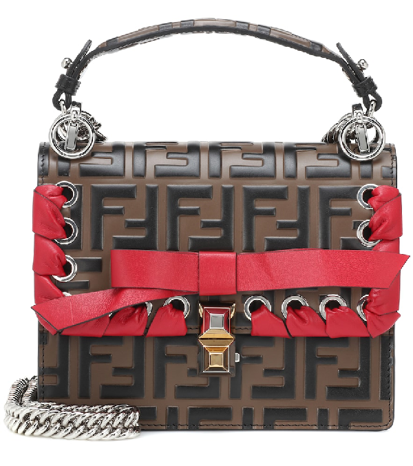cb4940889b7e Fendi Kan I Small Ff Embossed Shoulder Bag With Ribbon In Brown ...