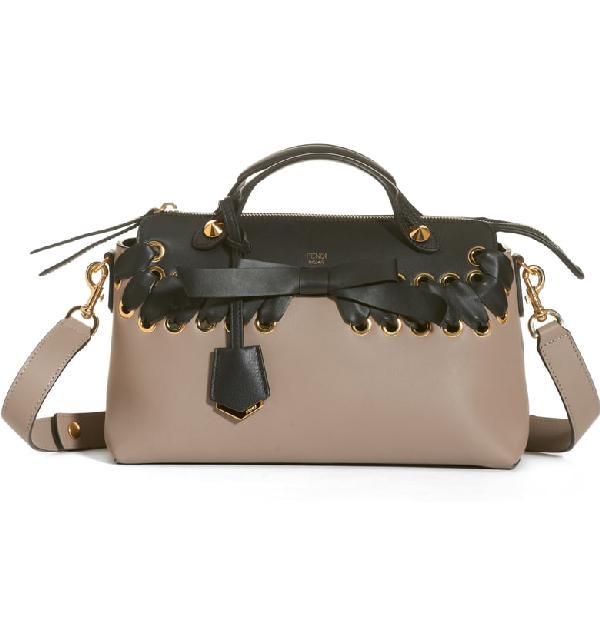 Fendi Medium By The Way Colorblock Leather Shoulder Bag - Grey In Tortora/ Nero