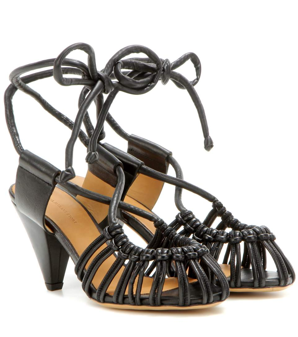 Isabel Marant Étoile Milly Leather Cage Sandals In Llack