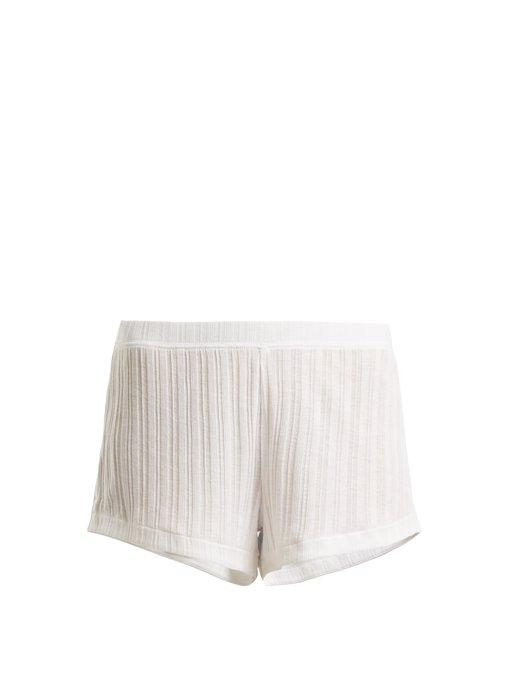 Skin Rooney Ribbed-Knit Pima-Cotton Shorts In White