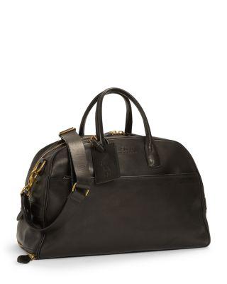 Polo Ralph Lauren Leather Messenger Bag In Black