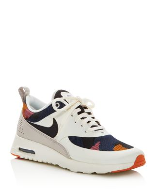 71b20da5a0 Nike Air Max Thea Jacquard Camouflage Lace Up Sneakers In White/Black/Orange