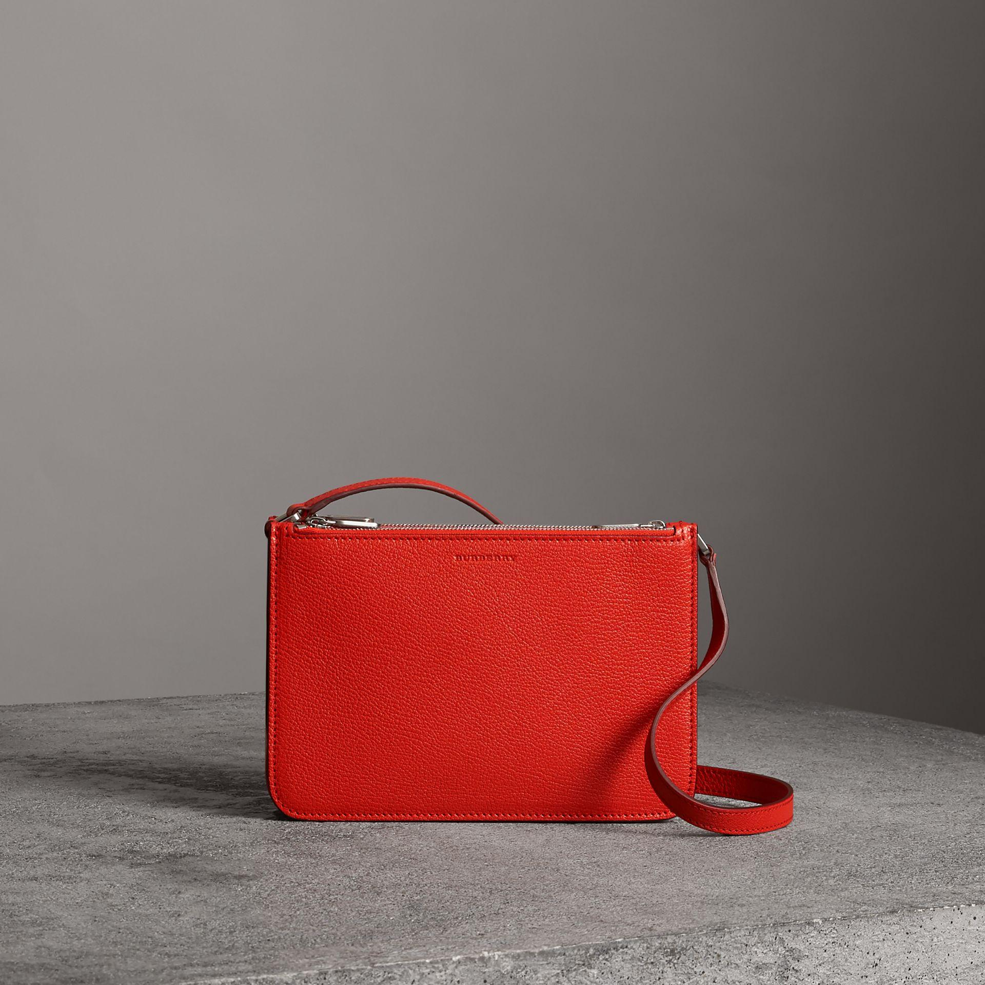 8c3260353554 Burberry Triple Zip Grainy Leather Crossbody Bag In Bright Red ...
