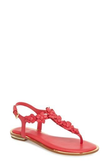 413ac5958cfa Michael Michael Kors Tricia Flower Thong Sandals In Dark Pink