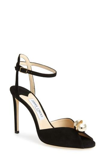e20f7c5cb96 Jimmy Choo Sacora 100 Embellished Suede Sandals In Black