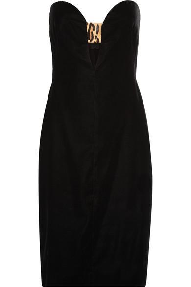 Tom Ford Woman Strapless Leopard-print Calf Hair-trimmed Velvet Dress Black